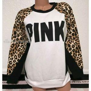 VS Pink Leopard White Black Legging Crew Sweater